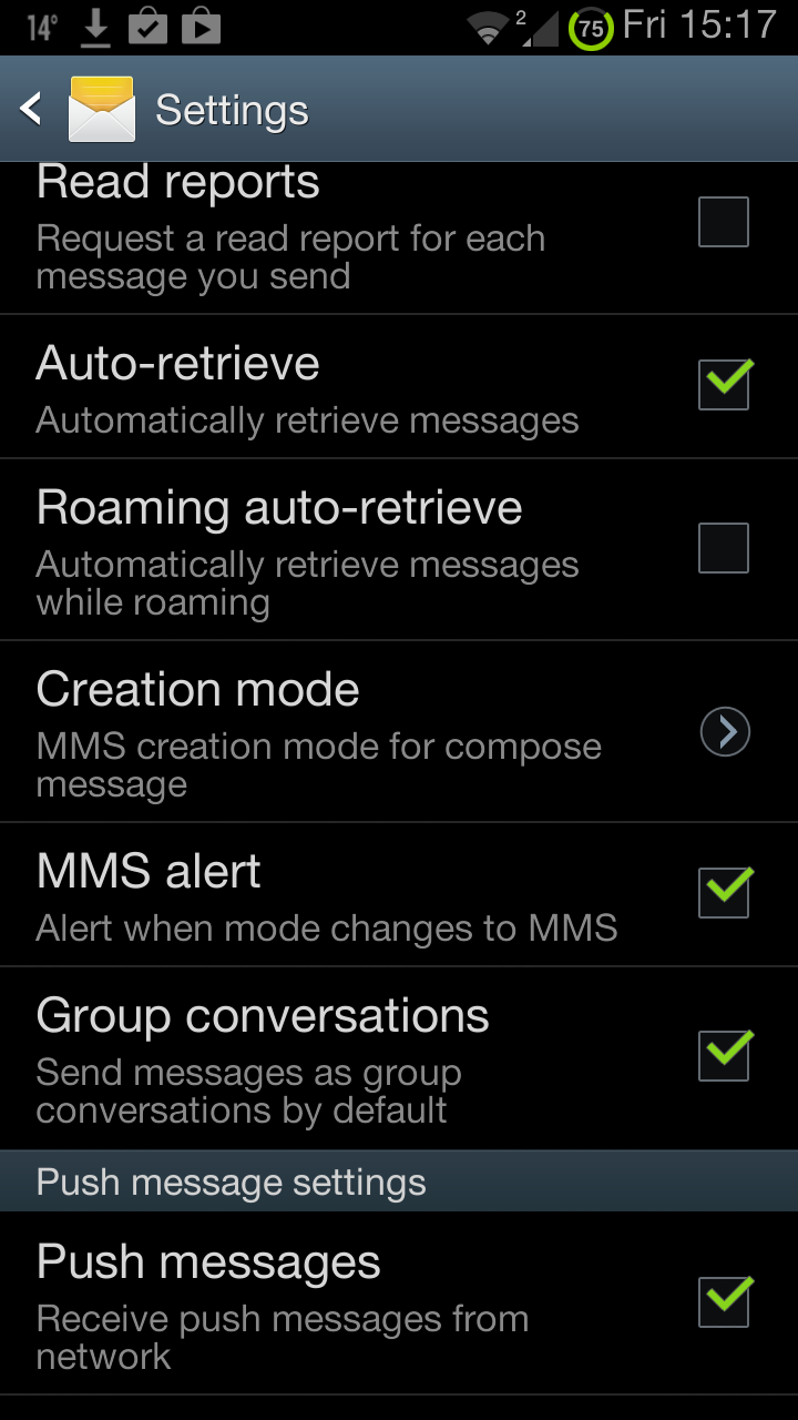 how to change mms creation mode setting s4