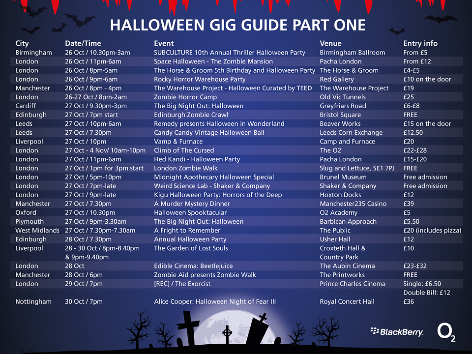 Halloween Gig Guide