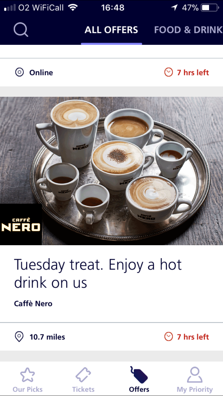 Solved No Cafe Nero Offer After The App Being Upgraded O2