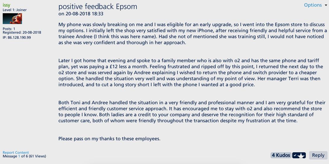 Positive feedback for Epsom store