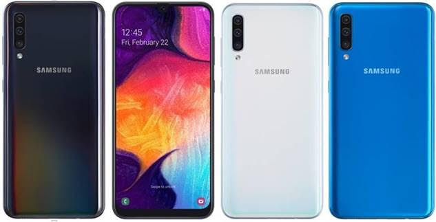 Photo of Samsung Galaxy A50 in different colours