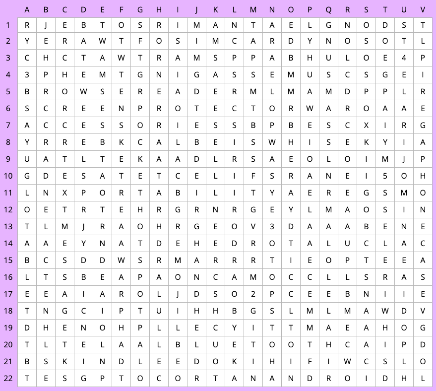 Mobile devices word search - first grid