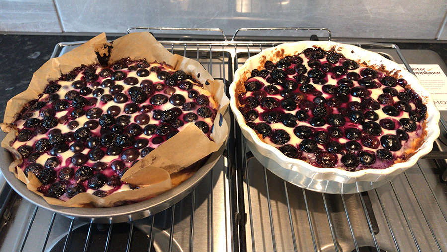 Two vegan blueberry pies straight from the oven