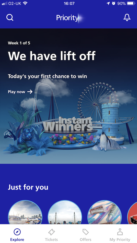 Instant Winners screenshot from Priority