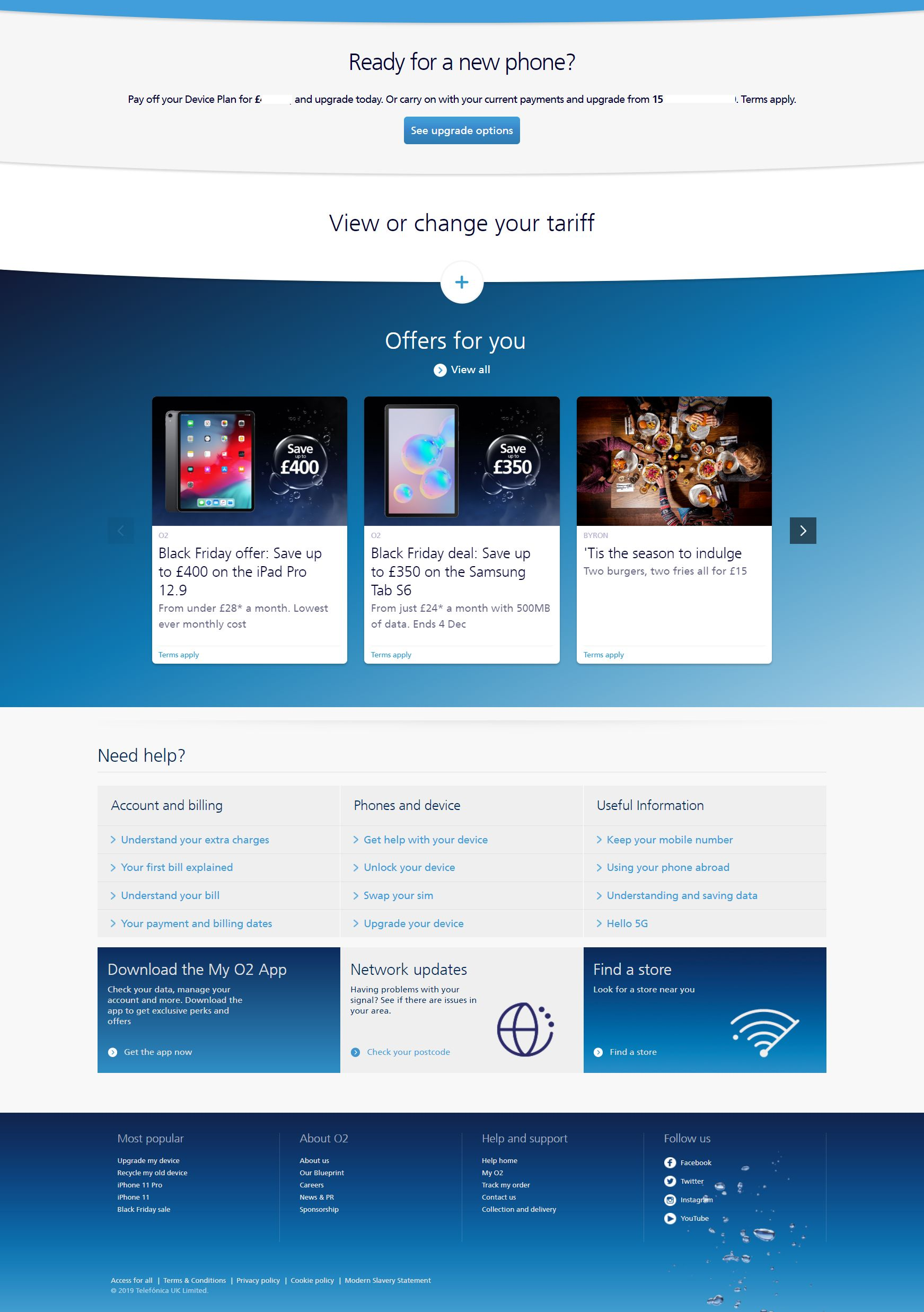 My O2 web version, bottom of the page