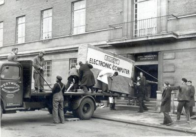 Norwich City (UK) first computer delivered to the Treasury Department for payroll. 1957..jpg