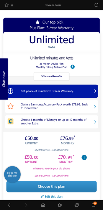 Once you've submitted the details, you'll then see the predicted new monthly cost of your upgrade or order