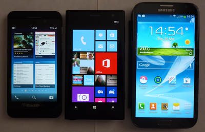 Nokia 1020 compared to Blackberry Z10 and Samsung Note 2